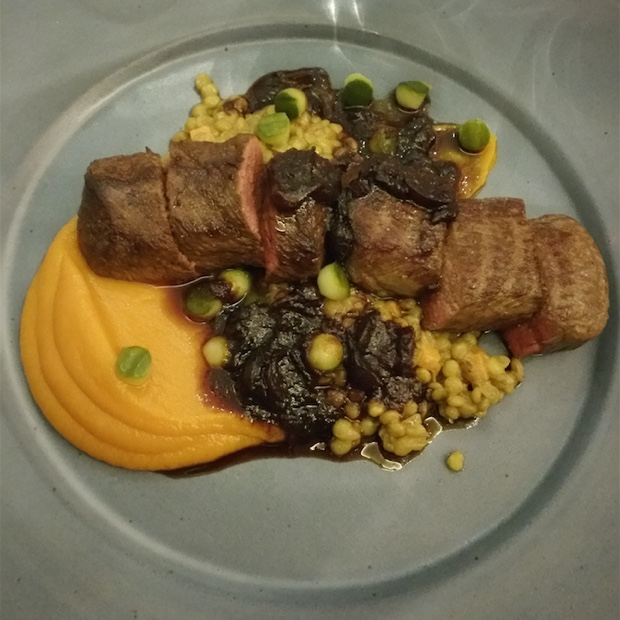 Springbok loin, orange sweet potato, lentils, pickled cucumber, cranberry jus, Open Door, Constantia - @OpenDoorSA