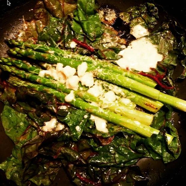 Asparagus, chard, lemon and nutty cheese #chablis