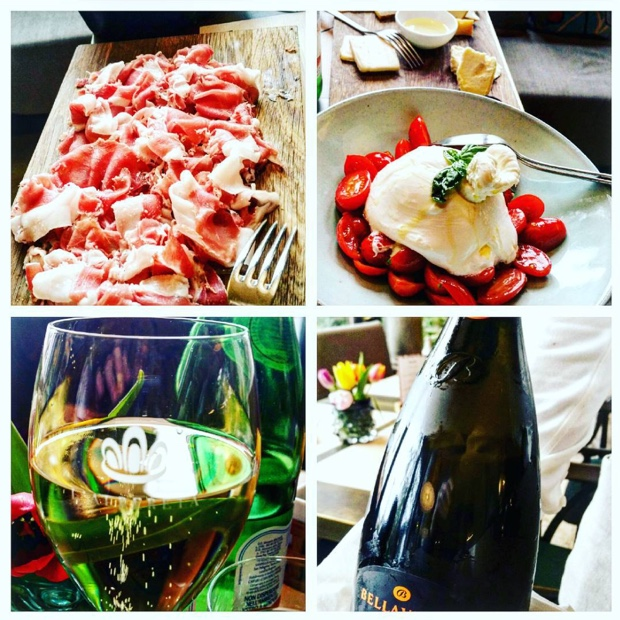 Prosciutto, burrata and @BellaVistaVino @franciacorta the most perfect welcome in @albereta #erbusco