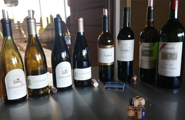 Tasting line-up at Cuvaison