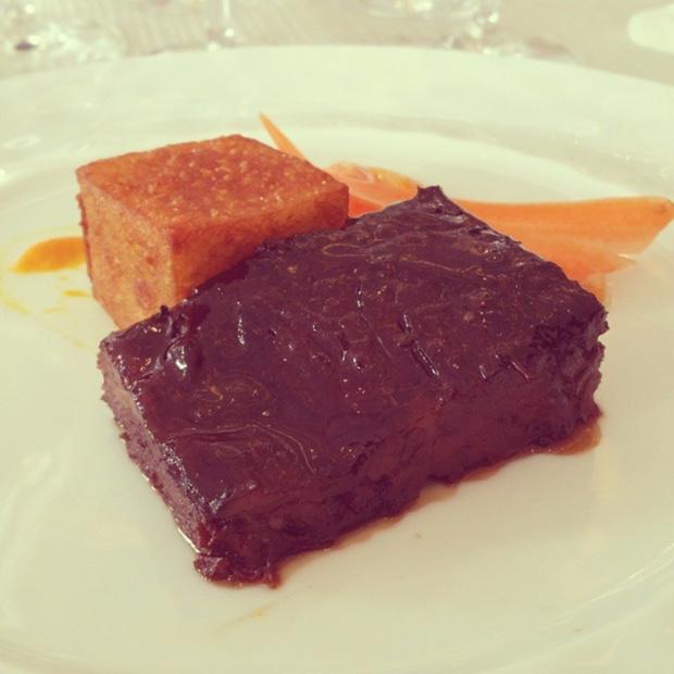 Braised Bison Shortrib, spring carrot, pommes dauphines @FSToronto #solaia 2007 #moutonrothschild 2005 #vegasiciliaunico 2004 #primumfamiliaevini #julienlaffargue #fourseasonstoronto