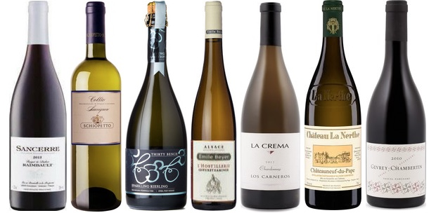 From left to right: Roger & Didier Raimbault Sancerre Rouge 2013, Schiopetto Sauvignon 2013, Thirty Bench Sparkling Riesling, Emile Beyer L'hostellerie Gewürztraminer 2012, La Crema Chardonnay 2014, Château La Nerthe Châteauneuf Du Pape Blanc 2014 and Pascal Marchand Gevrey Chambertin 2013