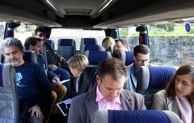 David Pelletier and group aboard the Vinho Verde bus