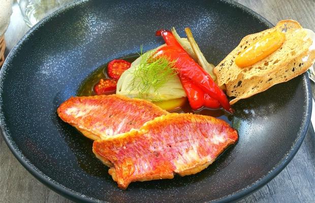 Rouget, bouillabaisse, légumes d'été, Au Fil du Zinc, Chablis