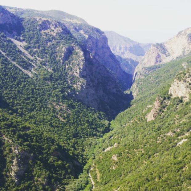 A view through Vouraikos Canyon from Mega Spileo Vineyard